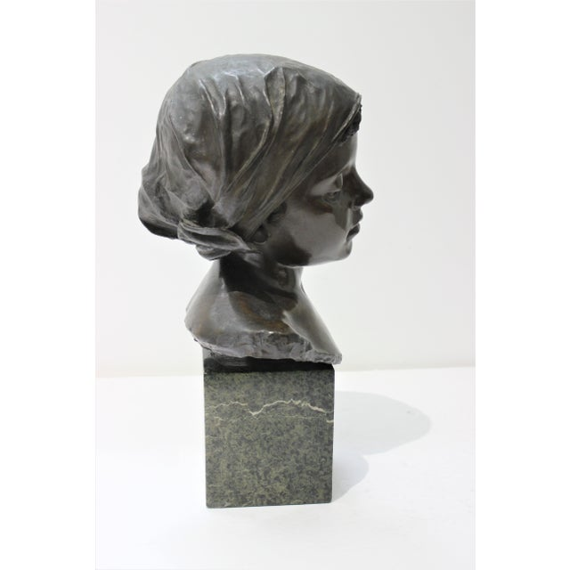 Late 19th Century Antique Edouard Rossi of Naples.Bronze Sculpture of a Young Girl For Sale - Image 5 of 13