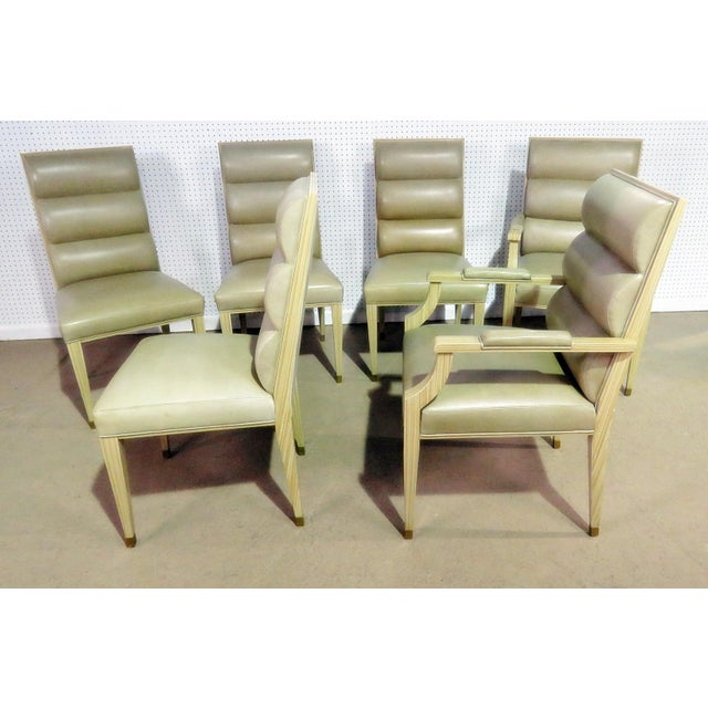 Tan Set of 6 Mid Century Modern Dining Chairs For Sale - Image 8 of 9