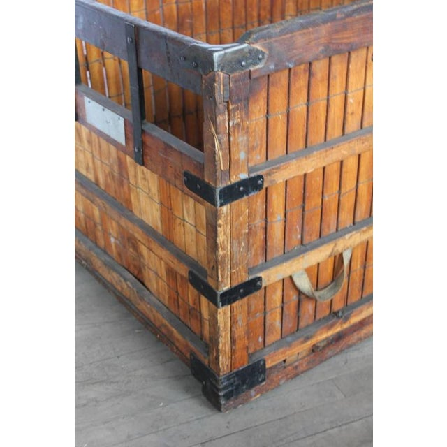 Rustic 1930's Antique American Industrial Wood Crate For Sale - Image 3 of 4