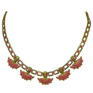 1920s Egyptian Revival Coral-Orange Enameled Necklace For Sale