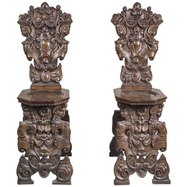 Wood 19th Century Gothic Carved Hall Chairs - a Pair For Sale - Image 7 of 7