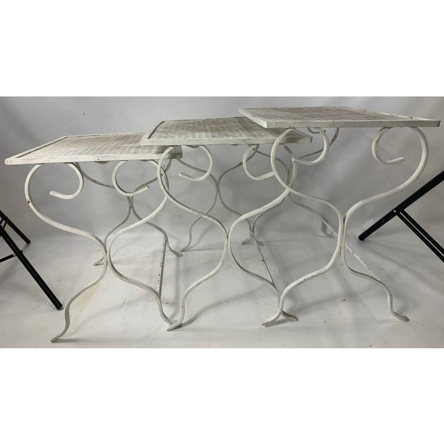 1950s Mid-Century Modern Salterini Tempestini Wrought Iron Nesting Tables - Set of 3 For Sale - Image 11 of 11