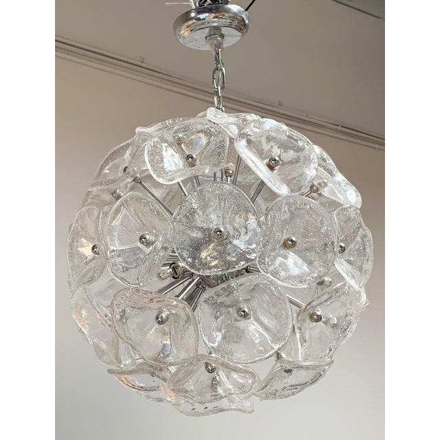 "Transparent 20"" Fiori Murano Glass Pendant Orb Ceiling Light For Sale - Image 8 of 11"