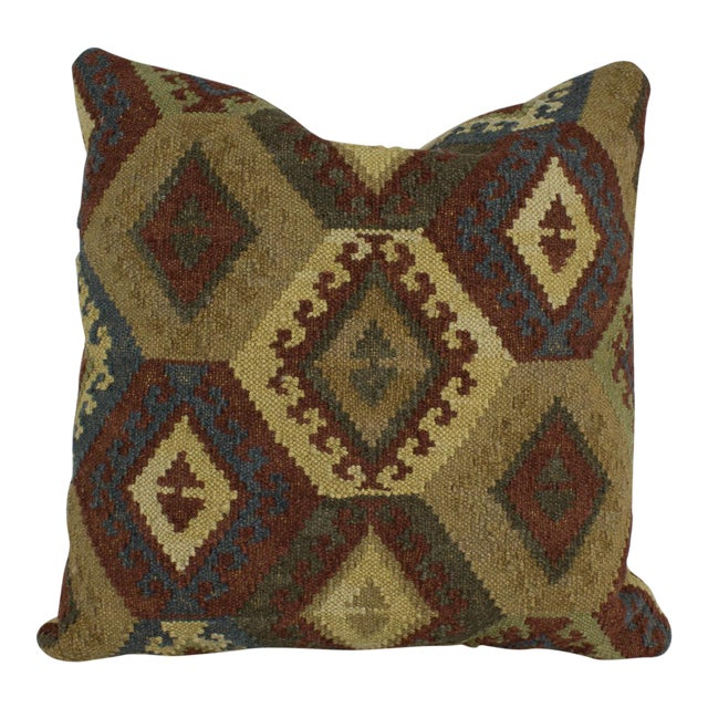 Brown and Blue Woven Kilim Pillow For Sale
