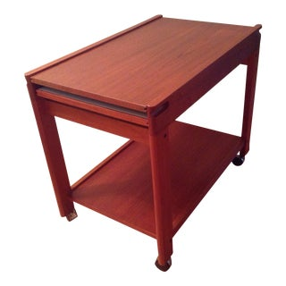 Solid Teak Bar Cart by Aksel Kjersgaard With Leaf, Shelf and Drawer, Denmark Model 702 For Sale