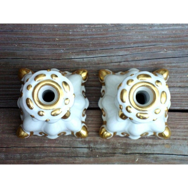 Holland Mold White & Gold Candle Holders - A Pair - Image 5 of 7