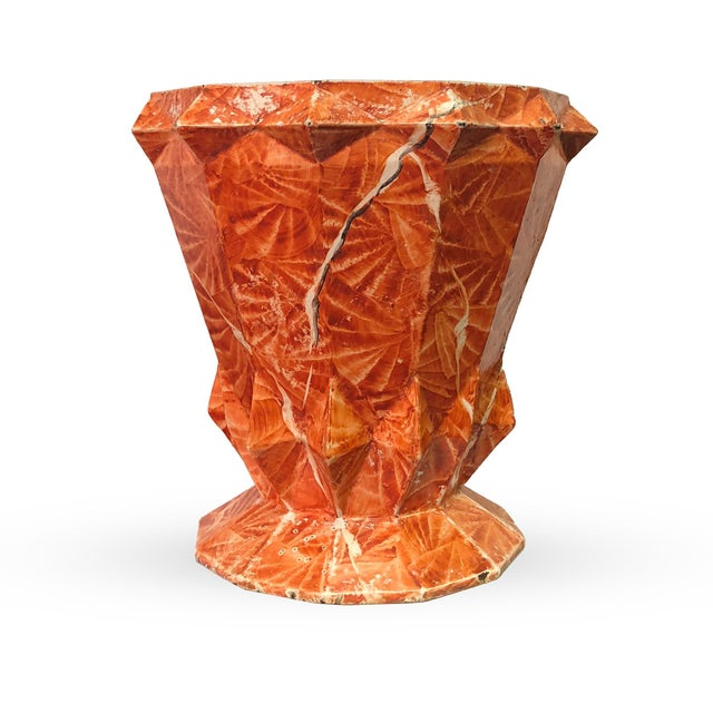 """A cubist design, Art Deco period cast iron """"grotto"""" jardiniere of unusual form and retaining its original enameled finish..."""