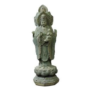 Chinese Rustic Finish Wood Grayish Kwan Yin 3 Sides Statue For Sale