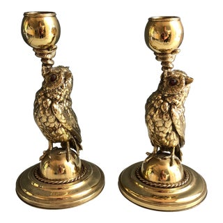 Vintage Brass Owl and Snake Candlesticks - a Pair For Sale