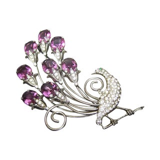 Art Deco Jeweled Sterling Peacock Brooch C 1940s For Sale