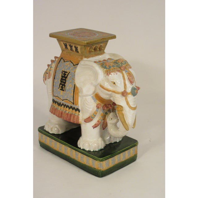 White 1960s Italian Ceramic Elephant Garden Stool For Sale - Image 8 of 13