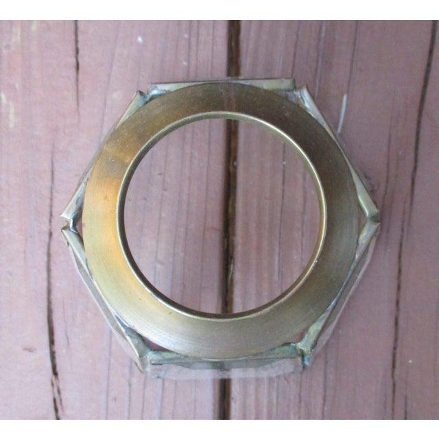 Vintage MCM Brass Glass Hexagon Chandelier Light Covers | Chairish