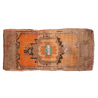 "Vintage Distressed Oushak Rug Mat Runner - 1'7"" X 3'5"" For Sale"