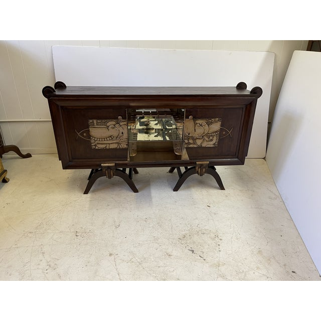 French Art Deco Bar Cabinet With Mirrored Interior For Sale In Atlanta - Image 6 of 13