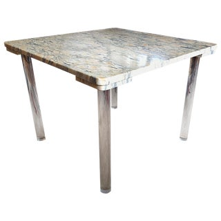 Marble & Lucite Cocktail Table For Sale