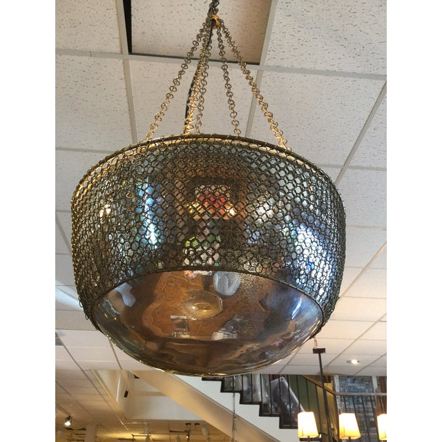 Metal Arterior, Laura Kira Collection Hanging Chainmail Domed Round Mirror Pendant Lamp For Sale - Image 7 of 7