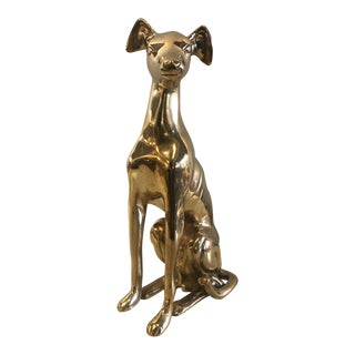 Handcrafted Brass Whippet Greyhound Small Statue For Sale