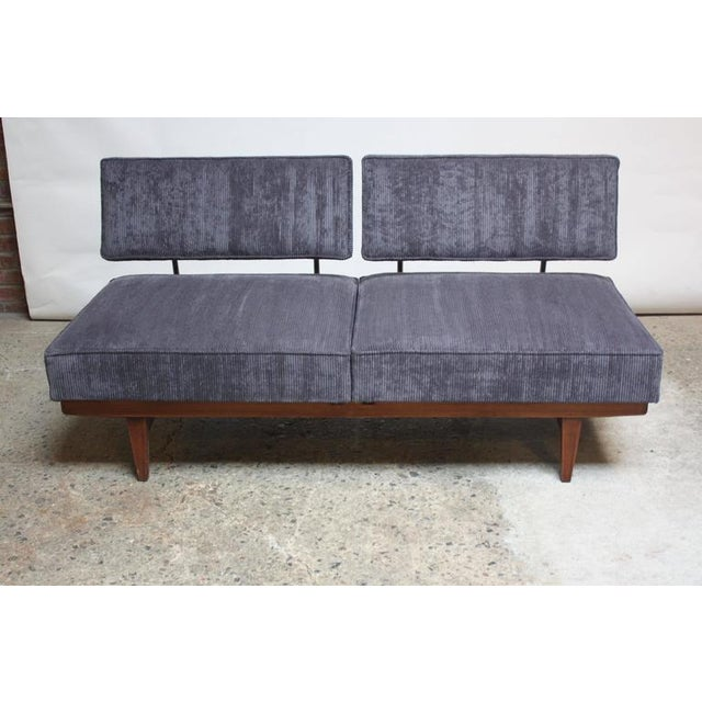 Danish Modern Convertible Daybed/Sofa on Chrome and Walnut Base - Image 4 of 11