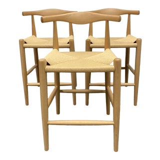 Inmod Hans Wegner Style Elbow Bar Counter Stools - Set of Three For Sale