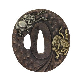Bronze Quality Handcrafted Japanese Round Tsuba - Dragon Face Deity and Buddha Art For Sale