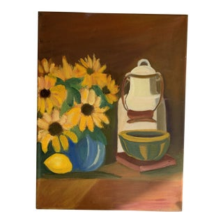 Vintage Sunflowers Still Life Canvas Painting For Sale