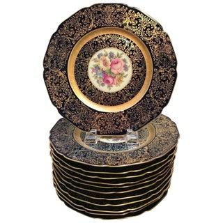 1920s Edwardian Cobalt and Gilt Floral Service Plates - Set of 12 For Sale