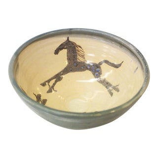 Folk Art Horse Glazed Pottery Bowl For Sale