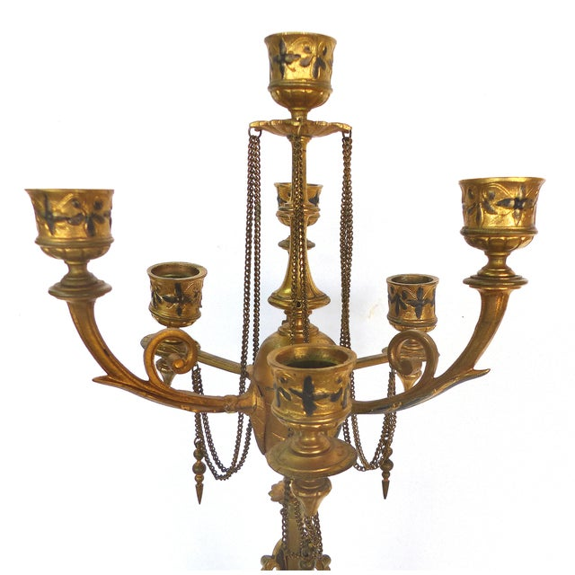 1800s Neoclassical Dore Candelabras - A Pair - Image 3 of 10