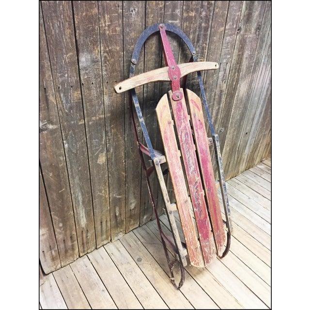 Vintage Weathered Wood & Metal Runner Sled -- Rocket Plane - Image 5 of 11