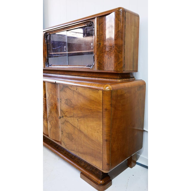 Metal Art Deco Walnut Burl Wood Sideboard or Bar Cabinet For Sale - Image 7 of 13