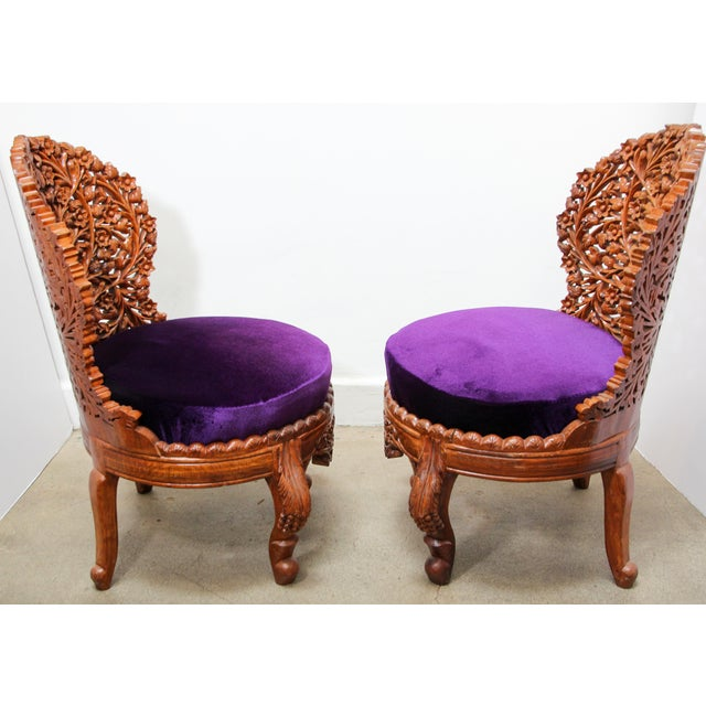Anglo-Raj Carved Wood Side Lounge Chairs - a Pair For Sale - Image 10 of 13
