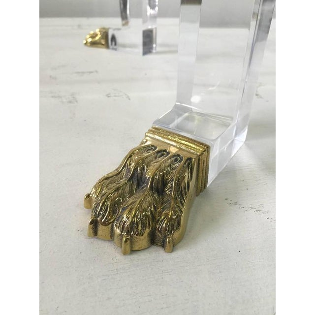 Acrylic Pair of Custom Designed Lion Feet on Acrylic Side Tables For Sale - Image 7 of 8