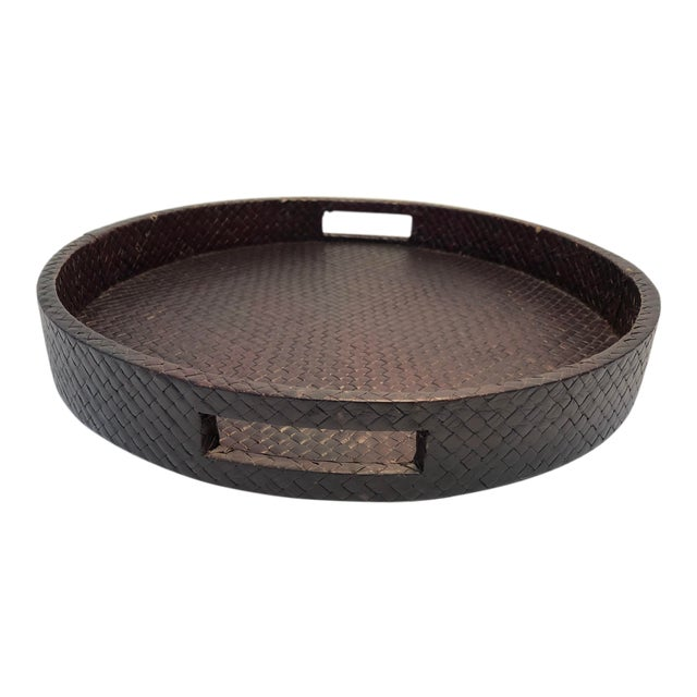 Transitional Round Rattan Warped Wood Tray For Sale