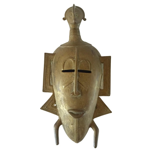 African Brass Mask - Image 1 of 6