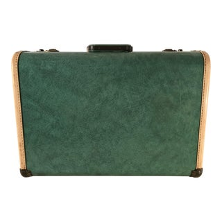Mid-20th Century Americana Towncraft Green Leather Suitcase
