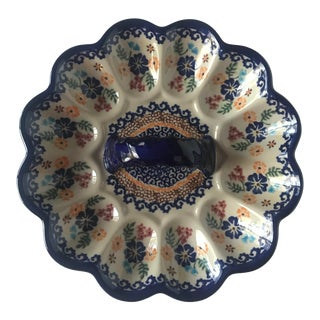 Authentic Polish Pottery Egg Tray For Sale