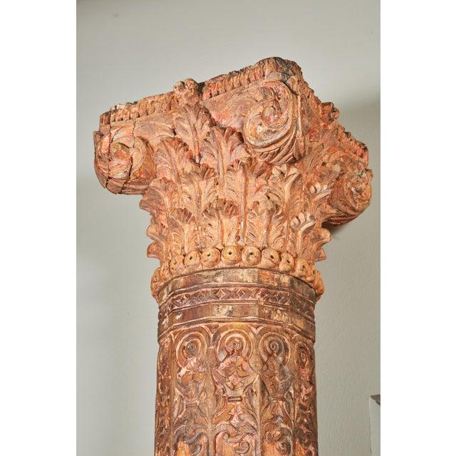 Pair of Orange Tall Indian Teak Wood Pillars - Image 2 of 9