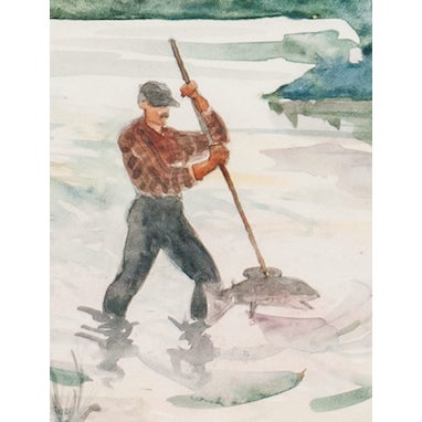 Classic watercolor signed BMK (LR) by B.M. Kremitske depicting an angler gaffing a fish on the Susquehanna River! Art: 5...