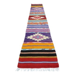"Vintage Turkish Kilim Runner-1'10'x9"" For Sale"
