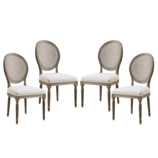 Emerald Home Salerno Louis XV Cane Back Dining Chairs- Set of 4 For Sale