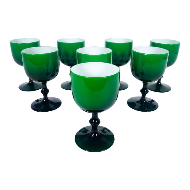 A set of nine delicate Carlo Moretti glass wine glasses with green exterior and white interior from the 1960s. Dimensions:...