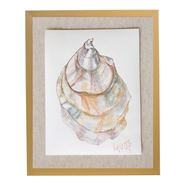 """Contemporary Oyster Watercolor Painting on Paper """"East Coast Vi"""" by Leigh-Anne O'Brien (Lagob), Framed For Sale"""
