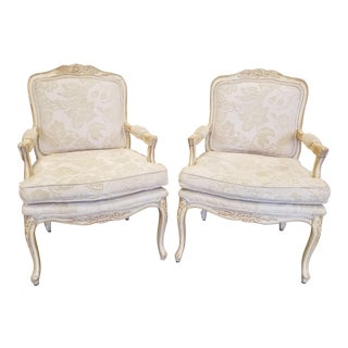 1970s Vintage Distressed White French Provincial Style Accent Bergere Chairs - a Pair For Sale