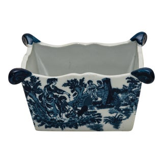 Vintage Blue & White Ironstone Planter For Sale