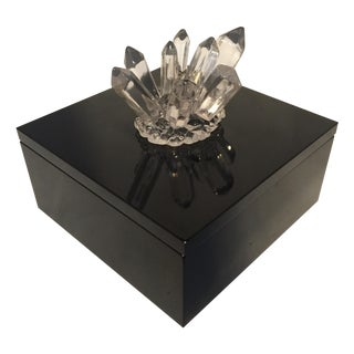 Black Lacquered Box With Crystal on Top
