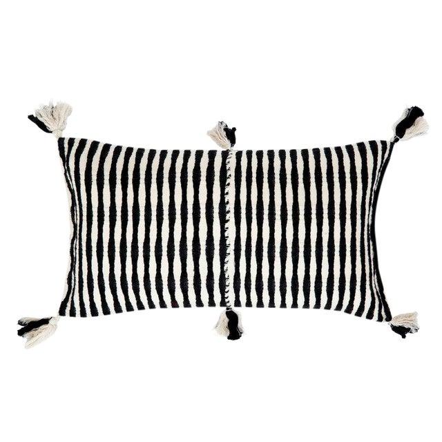 Black Striped Antigua Pillow For Sale