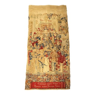 Antique 1800s Aubusson Style Hand Painted French Priam Tapestry For Sale
