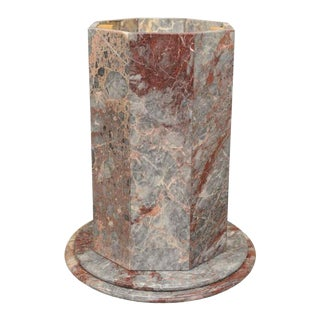 Vintage Italian Rogue Marble Octagonal Dining Table Pedestal For Sale