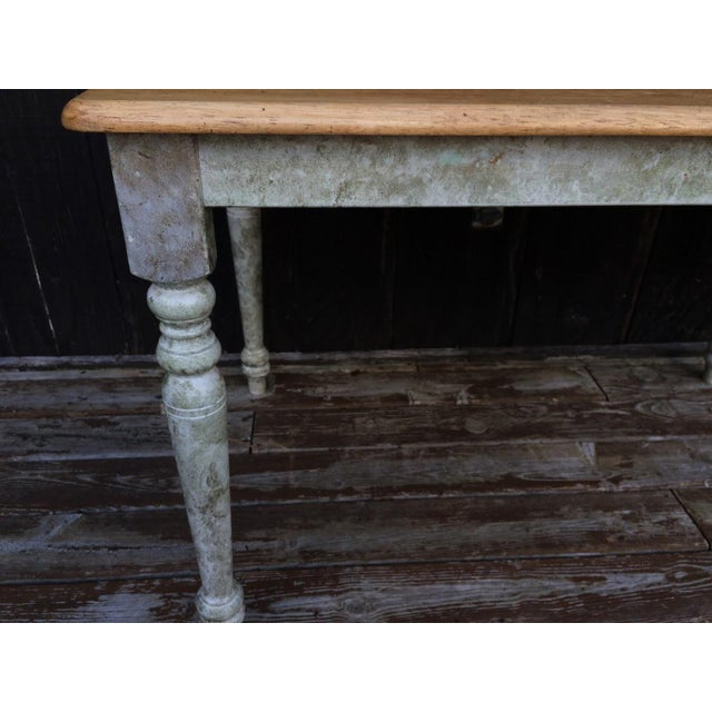 Shabby Chic Farm Table - Oak Top For Sale - Image 9 of 11