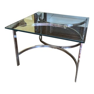 1970s Modern Chrome and Glass Side Table For Sale